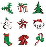 9 Kerstmispictogrammen Stock Foto's