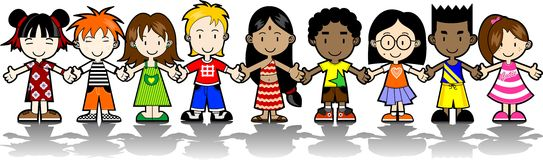 9 Kids holding hands Royalty Free Stock Image