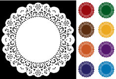 Lace Doily Placemats, Nine Bright Colors. Round lace doilies in white plus 8 colors for celebrations, holidays, backgrounds, sewing, arts, crafts, scrapbooks vector illustration