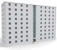 9 level white house withe blue windows. 3d illustration Royalty Free Stock Photo