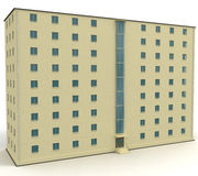 9 level yellow house withe blue windows. 3d illustration royalty free illustration