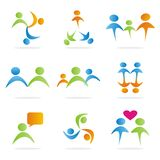 9 logo people symbols. Collection of 9 symbols of people, useful for logos or icons. Vector illustration Royalty Free Stock Photo