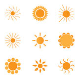9 logos and icons: Sun Royalty Free Stock Photos