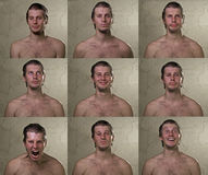 Man emotions set. Set of emotions of young man Royalty Free Stock Photos