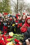 9 May Victory Day. People lay flowers at Bronze Soldier monument on Military Cemetery of Tallinn. May 9, 2010 in Tallinn, Estonia Stock Image
