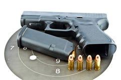 9-mm handgun automatic. On white background stock image