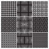 9 naadloze zwart-wit patronen () royalty-vrije illustratie