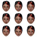 9 (negen) emoties met één gezicht royalty-vrije illustratie
