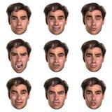 9 (neuf) émotions avec un visage Photographie stock libre de droits