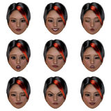 9 (nine) emotions with one face royalty free illustration