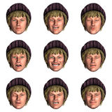 9 (nine) emotions with one face. Computer generated face with nine expressions Stock Photo