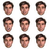 9 (nine) emotions with one face. Computer generated  face with nine expressions Royalty Free Stock Photography