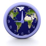 9 oclock. 3d rendered clock showing the time with earth background Royalty Free Stock Photos