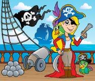 9 pokładów pirata statku temat Obrazy Royalty Free