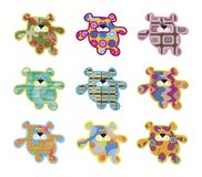 9 retro teddy bears Royalty Free Stock Images