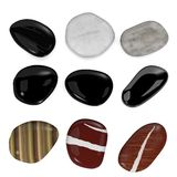 9 river stones. 3d render of 9 river stones royalty free illustration