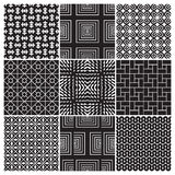 9 seamless monochrome patterns (vector) Royalty Free Stock Images