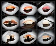 9 set sushi för olik nigirizushi Royaltyfria Foton