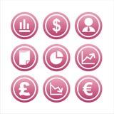 9 set tecken för finans Royaltyfri Fotografi