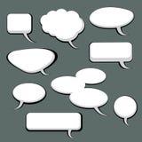 9 Sprache-und Gedanken-Luftblasen Stockfoto