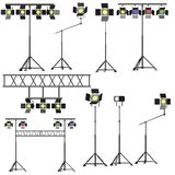 9 stage lights collection. 3d Royalty Free Stock Photography