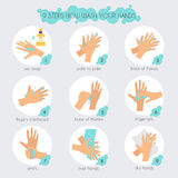 9 Steps To Properly Wash Your Hands. Flat Design Modern Vector Stock Image