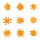 9 sun icons Royalty Free Stock Photos
