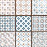 9 testes padrões sem emenda florais Fotografia de Stock Royalty Free