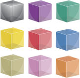 9 transparent cubes Stock Photos