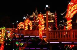 9 twist bridge. With dragon lantern in Chinese festival of lanterns.   located in Shanghai Yuyuan China Stock Image