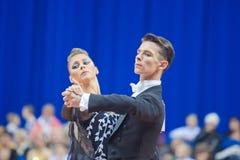 9 vuxna belarus par dansar minsk oktober Royaltyfri Bild