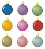 9 xmas baubles. Illustration of 9 multicoloured christmas balls vector illustration