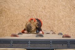 9 yr old on climbing wall Royalty Free Stock Photos