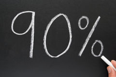 90%. Writing 90% on a blackboard Stock Photos