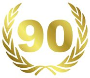 90 Anniversary. Illustration with laurel wreath Stock Photography
