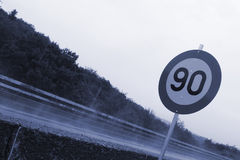 90 Kilometers an hour sign Royalty Free Stock Photos