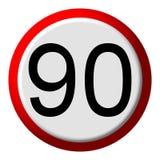 90 limite - sinal de estrada Fotos de Stock Royalty Free