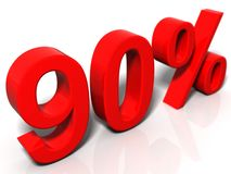 90 percent. 3D rendered image on a white reflective background Stock Images