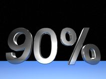 90 percent. 3d rendered numeric and percentage with space bacground stock illustration