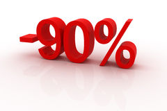 90 percent discount. Red sign showing a 90 percent discount Royalty Free Stock Photo