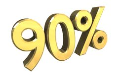 90 percent in gold (3D) royalty free illustration
