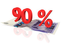 90 % percentage. 3d rendered 90 % percentage on a twenty pounds banknote Royalty Free Stock Photo