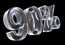 90 por cento no vidro (3D) Imagem de Stock