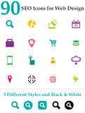 90 Seo Icons for Web Design. This is a cool, creative and very high quality pack of 90 SEO icons suitable for web design projects. Main features: 90 vector SEO Royalty Free Stock Photography