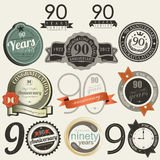 90 years anniversary signs and cards collection Royalty Free Stock Photo