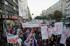 罗希亚蒙塔讷抗议在布加勒斯特,罗马尼亚- 9月07日 库存图片