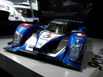908 HDI. 2009 Model of the Peugeot 908HDI FAP LMP1 prototype, winner of the 2009 24 hours of le mans race. This car was exposed during the 2010 Geneva Autoexpo Royalty Free Stock Photos
