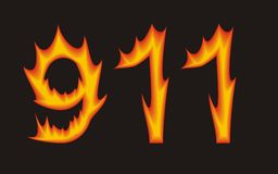 911. Rescue service 911 in flame Stock Photo