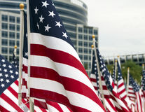 911 Day United States Patriotic Memorial Day Flags. Three thousand red, white, and blue United States stars and stripes flags wave at 911 memorial in Tempe Royalty Free Stock Image