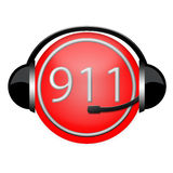 911 department extinguisher headphone sign. Life save conception vector illustration